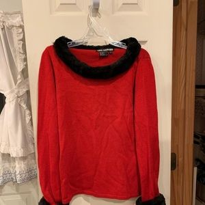 Red sweater with faux fur collar